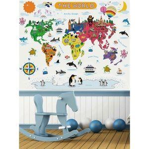 🆕 Cartoon World Map Wall Sticker Set Kid's Decor
